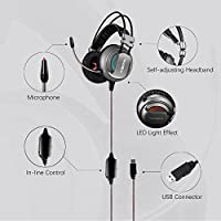 XIBERIA USB Headset with Microphone Gaming Over Ear Surround Sound Headphones for PC / Laptop / Computer(Gray-USB) from XIBERIA