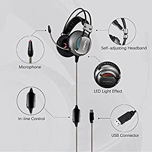 XIBERIA V10 PC Gaming Headphones Over-Ear USB Headset with Microphone Volume Control from XIBERIA