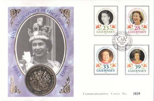 Coronation Cover (1993 40TH ANNIVERSARY OF THE CORONATION FIRST DAY COIN COVER. by ISSUED BY GUERNSEY.)