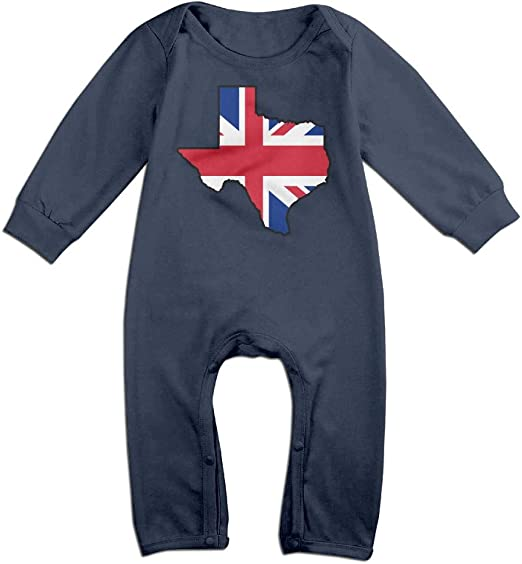 British Flag Texas Map Organic One-Piece Kid Pajamas Clothes BKNGDG8Q Toddler Baby Boy Romper Jumpsuit