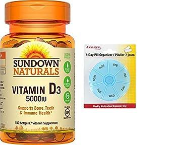 Sundown Naturals vitamina D3 5000 IU, 150 Cápsulas con gratis 7 días plástico píldora organizadores