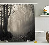 Gothic Decor Ambesonne Gothic Decor Collection, Path on the Gothic Forest Trees Foggy Mysterious Nature Monochrome Art, Polyester Fabric Bathroom Shower Curtain Set with Hooks, Cloudy Gray
