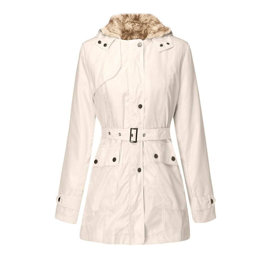 Women's Waterproof Military Anorak Safari Hoodie Jacket Zip Up Warm Wool Coat Removable Fur Lined with Belt Beige by SSYUNO-women tops