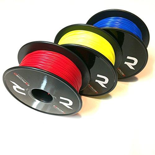 REPKORD V-LINE MiniMaker 3D Printer Filament 1.75mm 3x 250g / 1/2lb spools, 3 pack, Bulk, PLA, Red, Blue, Yellow 1.75mm, 0.05+/- diameter, FDM FFF 3D Printers Repkord Supplies