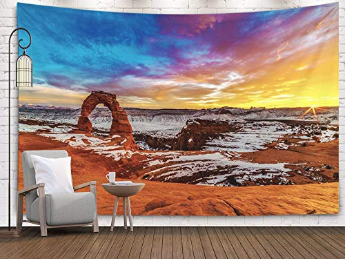 Fullentiart Art Tapestry, Wall Hanging Tapestry 80x60inch Sunset Delicate Arch Arches National Park Decoration Room Birthday Gift Holiday Décor Tapestries -