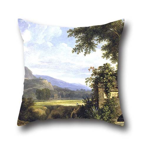 Oil Painting Pierre-Henri De Valenciennes - Classical Landscape With Figures Drinking By A Fountain Pillow Cases 18 X 18 Inches / 45 By 45 Cm For Home Theater,play Room,adults,couch,divan,her With Ea