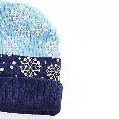 SODIAL New Children Winter Warm Knitted Beanie Cap Scarf Set Christmas Snowflake Pattern Hat Scarf Set for Baby Boys Girls/£/¨Blue/£/©