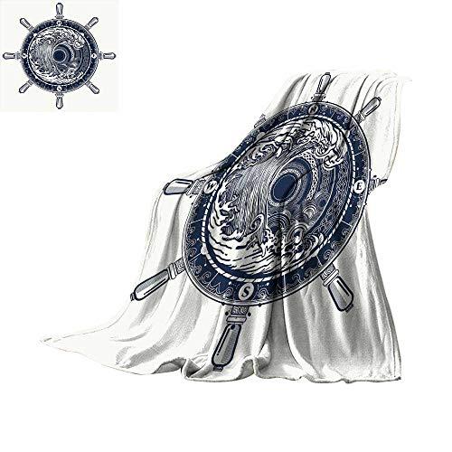 (RamonDecorFH Adventure,Lightweight Blanket Sea Compass and Storm Tattoo Design in Celtic Style Tsunami Waves and Wheel Plush Microfiber Blanket W60 x L50)