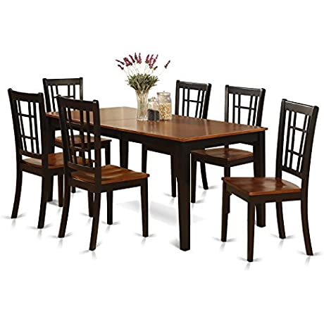 East West Furniture NICO7 BLK W 7 Piece Formal Dining Table Set Black Cherry Finish