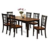 Cheap East West Furniture NICO7-BLK-W 7-Piece Formal Dining Table Set, Black/Cherry Finish