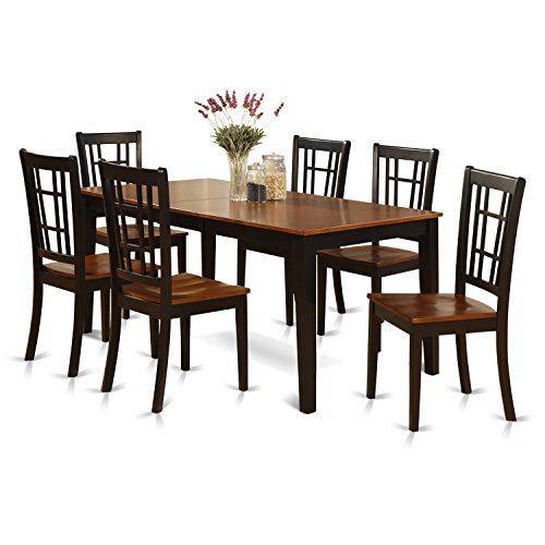 East West Furniture NICO7-BLK-W 7-Piece Formal Dining Table Set, Black/Cherry Finish ()