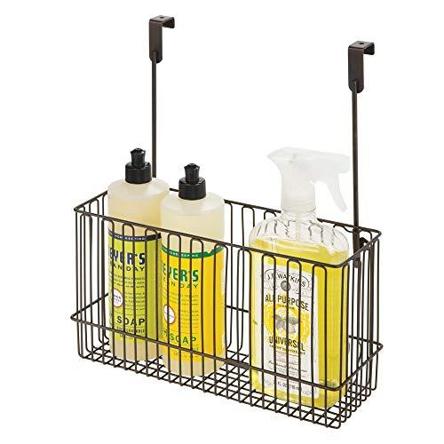 mDesign Metal Over Cabinet Kitchen Storage Organizer Holder or Basket - Hang Over Cabinet Doors in Kitchen/Pantry - Holds Bakeware, Cookbook, Cleaning Supplies - Steel Wire - Bronze
