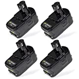 SWEETBUY 4ps 18V 4000mAh Power Tool Replacement Battery for RYOBI P103, P102, P107, P108