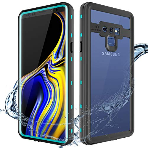 XBK Waterproof Case Compatible with Samsung Note 9, Shockproof Snowproof Cover Case with Built-in Screen Protector, Full Body Protect Clear Case for Note 9 (Teal)