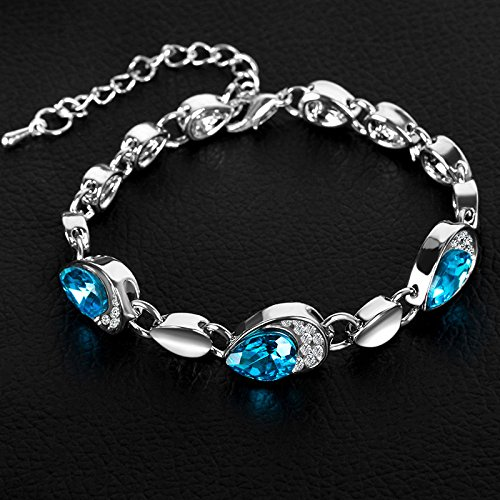 Korean version of the new fashion jewelry Heart of Ocean peach heart diamond bracelet crystal bracelet female models Accessories