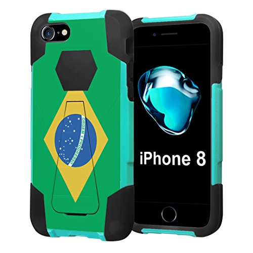 Aquamarine Brazil Blue (iPhone 8 Case, Capsule-Case Hybrid Fusion Dual Layer Shockproof Combat Kickstand Case (Teal Mint Green & Black) for iPhone 8 - (Brazil Flag))