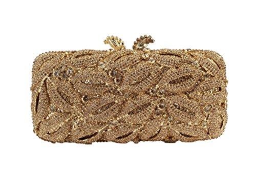 Yilongsheng Las mujeres del embrague bolsos de fiesta con Diamante (Oro)