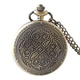 Shirleyle Exquisite Bronze Carved Vintage Retro Pocket Watch With Chain For Women Men
