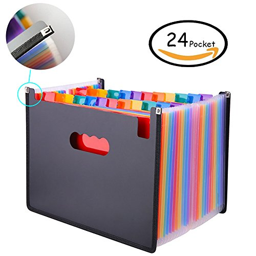 Oak-Pine 24 Pocket Expanding File Folder - Large Plastic Rainbow Expandable File Organizer Self Standing Accordion A4 Document Folder Wallet Briefcase Business Filing Box (Oak Desk Pine)