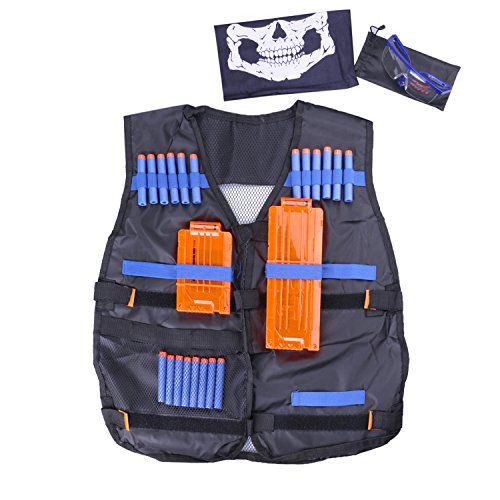 Tactical Firepower Mask Airsoft (Fody Tactical Vest Kit for Nerf N-Strike Elite Series + 20-Dart Refill + Vision Gear + 5-Dart Quick Reload Clip + 12-Dart Quick Reload Clip + Skull Face Tube Mask)