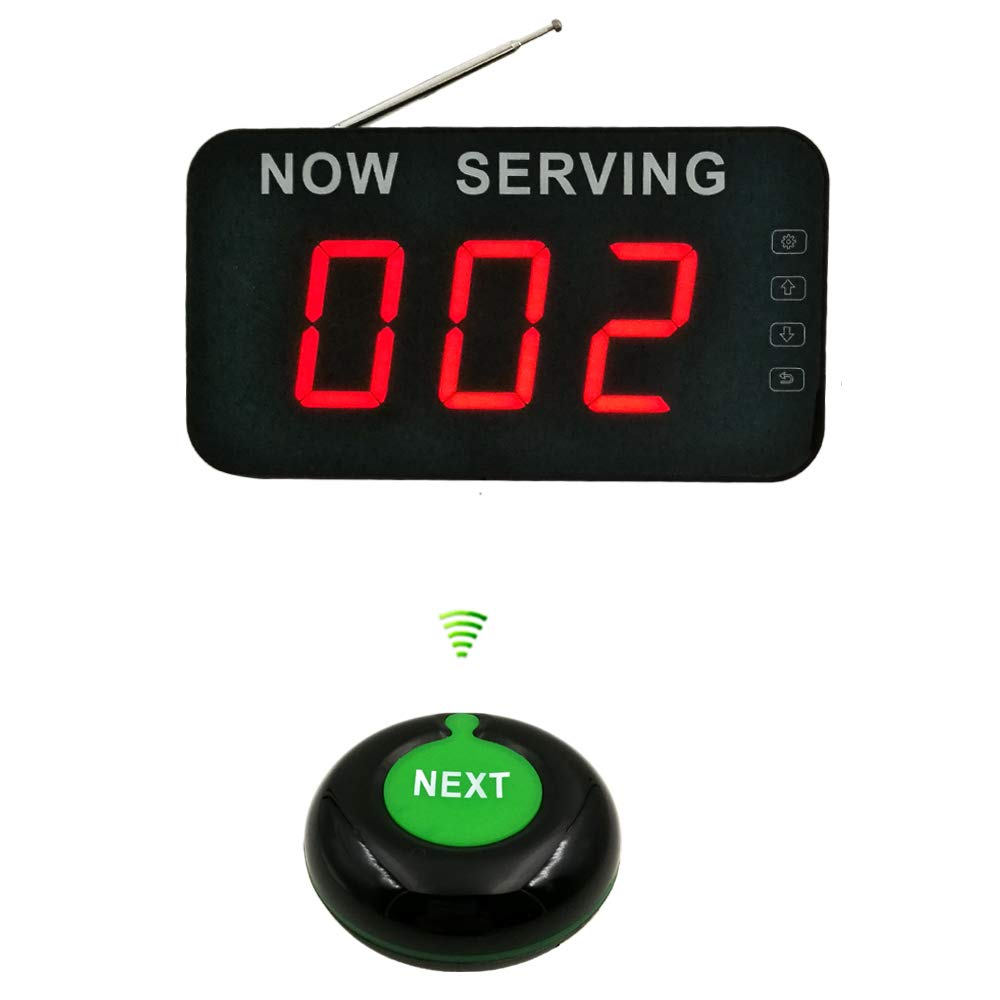 Wireless Take A Number System Simple Queue Management System with 3 Digits Display and Call Button Ycall by Ycall