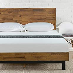 Bedroom Zinus Tricia Platform Bed, Queen, Brown farmhouse beds and bed frames