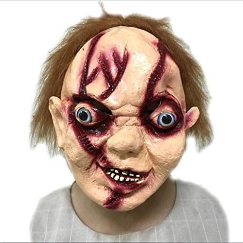 (Scary Doll Festival Party Supplies Halloween Adult Latex Mask Horrifying Mask Carnaval Bar Cosplay Costume)