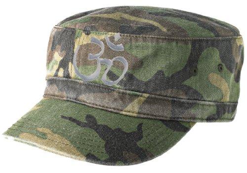 (Aum Symbol Military Style Fidel Cap - Distressed (Worn Looking) Design (Camo Green))