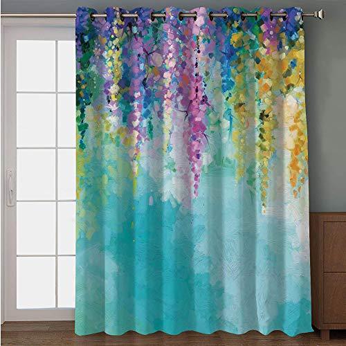"Blackout Patio Door Curtain,Watercolor Flower Home Decor,Ivy Romantic and Inspiring Landscape Spring Floral Art Nature Theme,Multi,for Sliding & Patio Doors, 102"" W x84 L"
