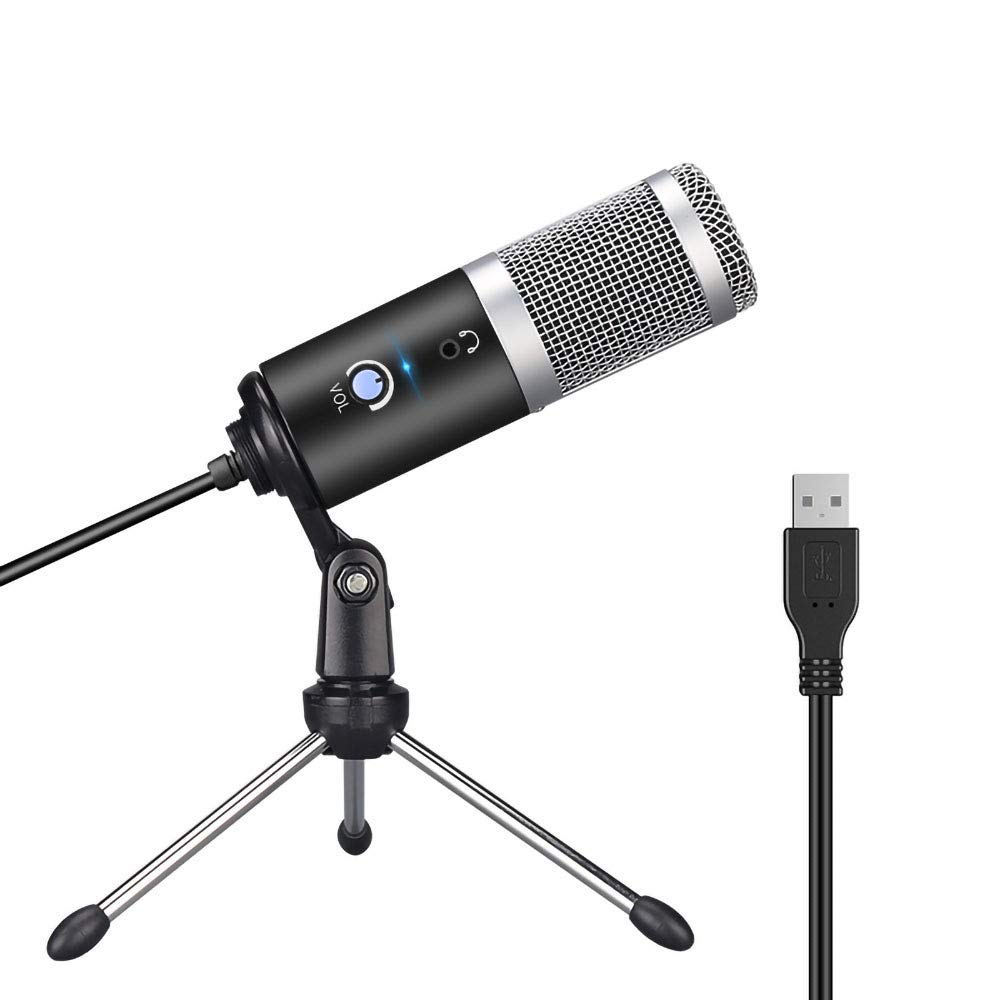 USB Computer Microphone, Ear Return Adjustable Volume Recording Instrument Playing Live Voice Group Chat Microphone Suitable for Computers