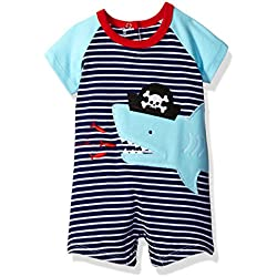 Mud Pie Baby Boys' Shortall One Piece, Pirate Shark, 12-18 Months