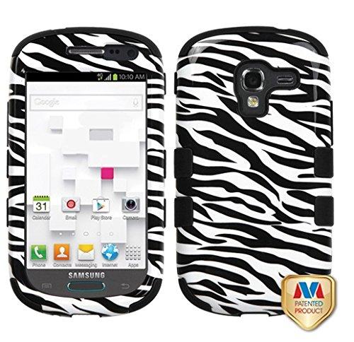 MYBAT Hybrid Dual Layer Hard Crystal Skin Gel Snap-On Protector for Samsung Galaxy Exhibit T599, Zebra Skin Black - Retail Packaging - Zebra - Protector Hard Zebra Skin