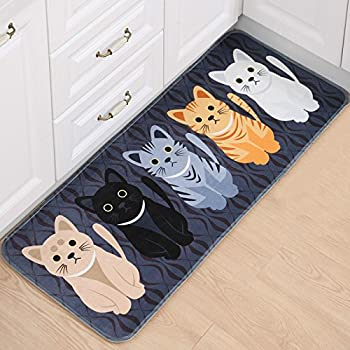 B&S FEEL Lovely Cats Pattern Bedroom Kitchen Mat Rug,47x20 Inches