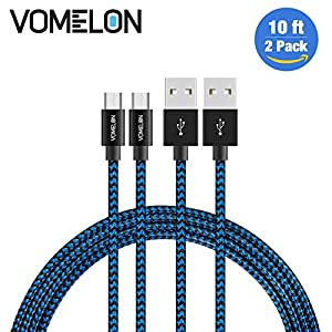 Micro USB Cable, Nylon Braided Tangle-Free High Speed Charging Cord for Samsung, Nexus, LG, Motorola, Android Smartphones and More by Vomelon