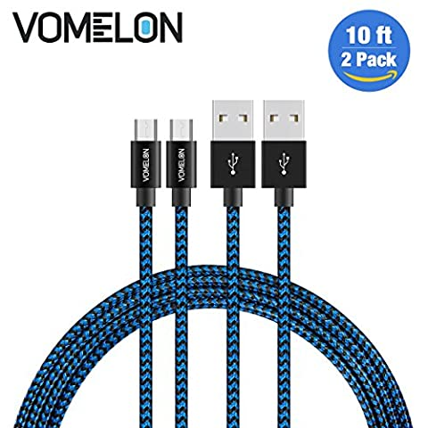 Micro USB Cable, 2Pack 10FT Nylon Braided Tangle-Free High Speed Charging Cord for Samsung, Nexus, LG, Motorola, Android Smartphones and (Cell Phone Samsung Windows 8)