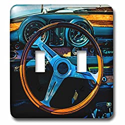 3dRose Alexis Photography - Transport Road - Steering wheel and a dashboard of a vintage luxury car - Light Switch Covers - double toggle switch (lsp_271911_2)