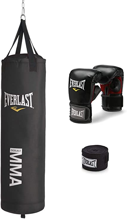 Everlast Training Heavy Bag Kit With Gloves Boxing Wraps 70 lb MMA Punching