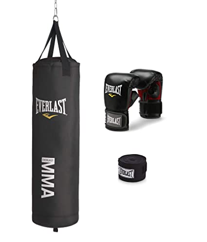 Everlast 70 Lb MMA Heavy Boxing Punching Bag Kit Wraps Gloves Kicking NEW