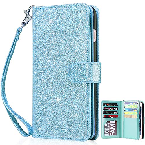 Dailylux iPhone 8 Case, iPhone 7 Wallet Case,Premium PU Leather+TPU Inner Shell Flip Case with 9 Card Slot Luxury Bling Cover for Apple iPhone 7 (2016) / iPhone 8 (2017) Women/Girls-Glitter Blue ()