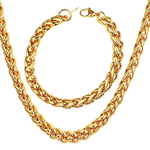 U7 Gold Plated Chain 9MM Wide Twisted Spiga Wheat Chain Costume Jewelry 18K Stamp Men Necklace Bracelet Set - 18k Rope Necklace
