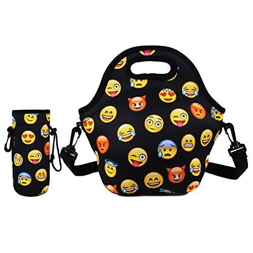 Violet Mist Neoprene Lunch Tote Bag Set Insulated Reusable Waterproof |Lunch Bag+ Bottle Holder+Shoulder Strap| School Picnic Lunchbox Container Organizer For Men, Women, Adults, Kids (Emoji Set)