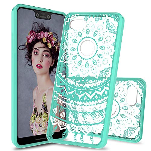 AnoKe Compatible with Google Pixel 3 XL Case,Pixel 3 XL Case,Slim Clear Datura Flowers TPU Rubber Grip Bumper Anti-Scratch Resistant Full-Body Protective Cell Phone Cover for Google Pixel 3 XL CH Mint