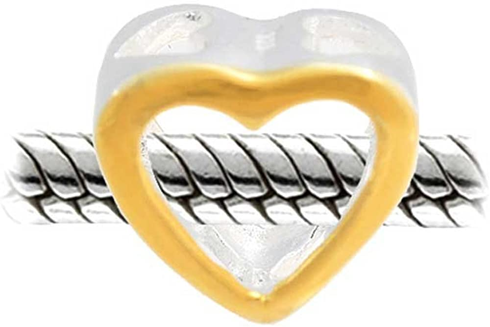 Open My Heart Love Couples Charm Bead For Women 2 Tone 14K Gold Plated Sterling Silver Fits European Bracelet
