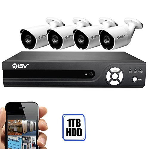 Best Vision System 8CH 4-in-1 HD 1080N  DVR Security Surveillance System with 1TB Hard Drive Installed and 4 x 1.3MP Indoor/Outdoor Night Vision Bullet Cameras with App for Smartphone Remote Monitoring