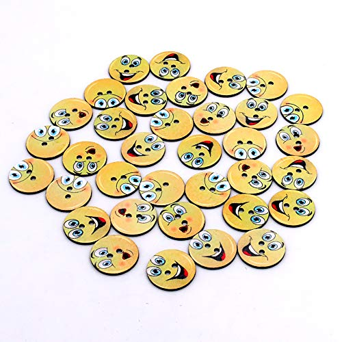(100pcs Mixed Wooden Slice Smile face Emoticon Craft Round Assorted Buttons for Sewing DIY 25mm (Happy Smile))