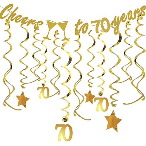 Gold 70th BIRTHDAY PARTY DECORATIONS KIT - Cheers to 70 Years Banner, Sparkling Celebration 70 Hanging Swirls, Perfect 70 Years Old Party Supplies 70th Anniversary Decorations