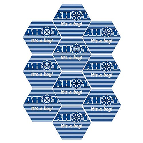 Announcement Baby Tile - C COABALLA Ahoy Its a Boy Durable Hexagon Ceramic Tile Stickers,Baby Shower New Birth Announcement Marine Wheel Striped Backdrop for Living Room Kitchen,9