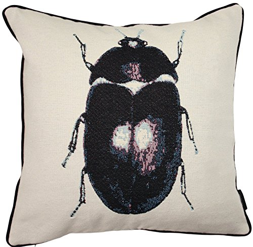 (McAlister Textiles Bugs Life | Woven Tapestry Beetle Pillow Cover | Black Embroidered 16x16 Throw Cushion Case | Textured Linen, Crewel Needlepoint | Country Accent Decor)