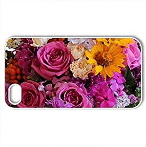 Amazing bouquet of flowers - Case Cover for iPhone 4 and 4s (Flowers Series, Watercolor style, White)