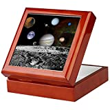 CafePress - Solar System Montage - Keepsake Box, Finished Hardwood Jewelry Box, Velvet Lined Memento Box